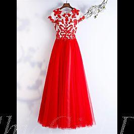 abendkleid ballkleider u ausschnitt lang rot tüll spitze perlen mit Ärmel