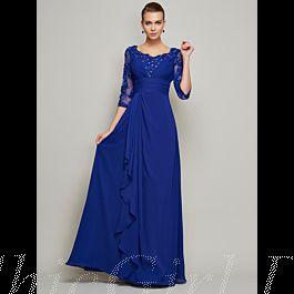 abendkleid brautmutterkleider lang königsblau chiffon perlen mit Ärmel