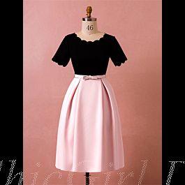 abendkleid etuikleid große größen kurz schwarz rosa satin mit Ärmel gürtel