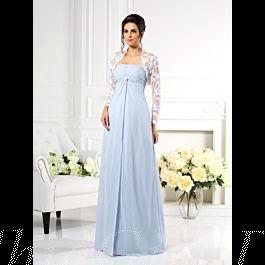 brautmutterkleider abendkleid empire stil lang hellblau chiffon spitze jacke bolero
