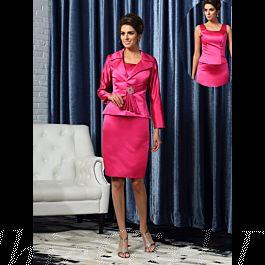 Brautmutterkleider Abendkleid Etuikleid Kurz Pink Satin Mit Langarm Jacke