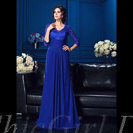 Brautmutterkleider Abendkleid Lang Blau Chiffon Spitze ...