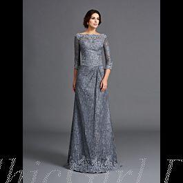 Brautmutterkleider Abendkleid Lang Grau Spitze Mit Ärmel U ...
