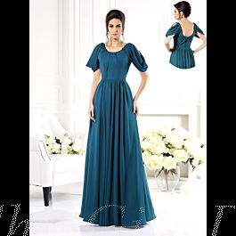 Brautmutterkleider Abendkleid Lang Petrol Chiffon Mit ...