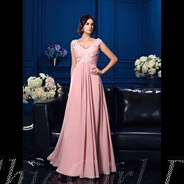 brautmutterkleider abendkleid lang rosa chiffon spitze empire v ausschnitt