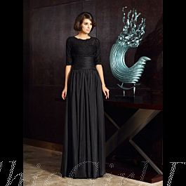 brautmutterkleider abendkleid lang schwarz taft falten mit spitze jacke