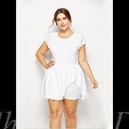 Damen Jumpsuit Overall Kleid Große Größen Kurz Weiß
