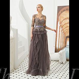designer abendkleid abiballkleid lang grau tüll rüschen spitze Ärmel mit gürtel