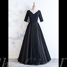 elegante a linie abiballkleider abendkleid v ausschnitt lang schwarz satin tüll punkte mit Ärmel