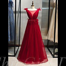 Elegante A Linie Ballkleid Abendkleid Lang Rot Tüll Mit ...