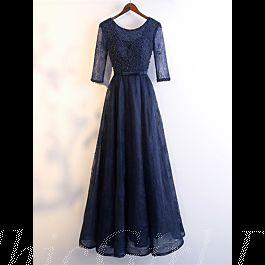 elegante abendkleid ballkleider rückenausschnitt lang dunkelblau spitze Ärmel mit perlen