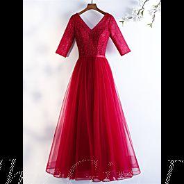 elegante abendkleid ballkleider v ausschnitt lang rot tüll perlen mit Ärmel