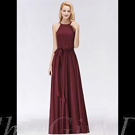 Elegante Abendkleid Brautjungfernkleider Lang Weinrot ...