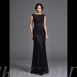 elegante abendkleid brautmutterkleider lang schwarz spitze u boot ausschnitt