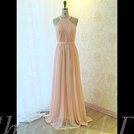elegante brautjungfernkleider abendkleid lang pastel rosa chiffon mit falten