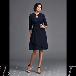 elegante brautmutterkleider abendkleid kurz dunkelblau chiffon mit jacke bolero