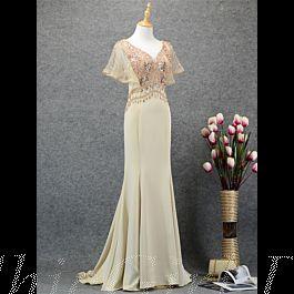 elegante meerjungfrau abendkleid lang champagner satin strass perlen mit Ärmel