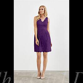 elegante v ausschnitt brautjungfernkleider abendkleid kurz spitze lila