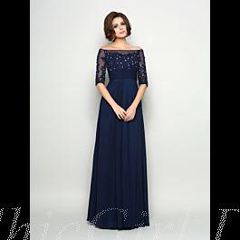 Festliche Abendkleid Brautmutterkleider Carmen Ausschnitt ...