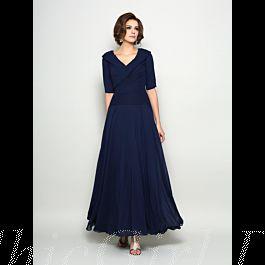 festliche abendkleid brautmutterkleider v ausschnitt lang dunkelblau chiffon mit Ärmel