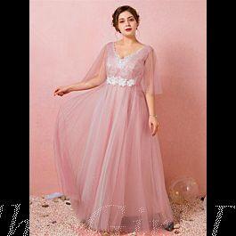 fließend abendkleid ballkleider große größen v ausschnitt lang rosa tüll Ärmel mit spitze blumen