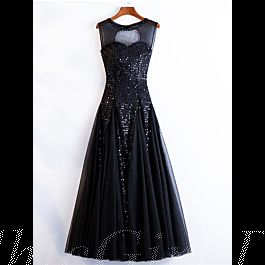 glitzer a linie abiballkleider abendkleid rückenausschnitt lang schwarz tüll pailletten