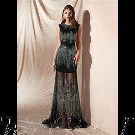 glitzer abendkleid abiballkleider lang schwarz transparent tüll strass hochgeschlossen