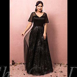 glitzer abendkleid große größen ballkleider für mollige v ausschnitt lang schwarz tüll Ärmel