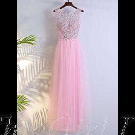 glitzer ballkleider abendkleid lang rosa tüll perlen strass rücken transparent