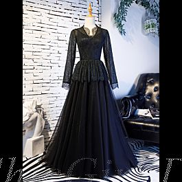 Gothic A Linie Abendkleid Brautkleid Langarm Schwarz Tüll ...