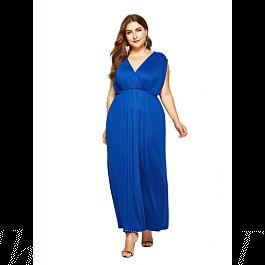Kleid Große Größen Maxikleid Blau Für Mollige Empire V ...