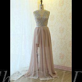 Kleider Für Hochzeit Abendkleid Lang Altrosa Spitze ...