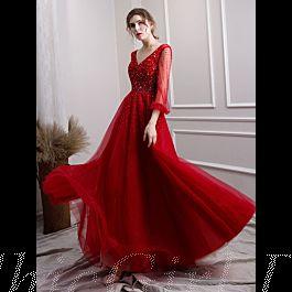 Luxus A Linie Abiballkleider Abendkleid V Ausschnitt ...