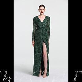 Luxus Abendkleid Ballkleid V Ausschnitt Langarm Dunkelgrün ...