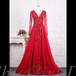 Luxus Abendkleid Langarm Rot Tüll Strass Perlen Glitzer V ...