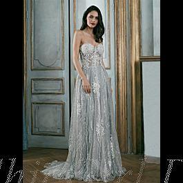 Luxus Abendkleid Transparent Herzausschnitt Lang Silber ...