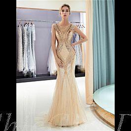 Luxus Designer Abendkleid Ballkleid Meerjungfrau Gold Tüll ...