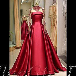 luxus duchesse abendkleid brautkleid stehkragen langarm rot satin mit strass glitzer