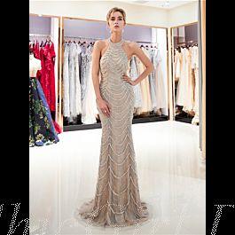 luxus festliche abendkleid neckholder lang beige tüll mit perlen strass