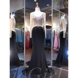 luxus meerjungfrau abendkleid langarm schwarz jersey strass glitzer