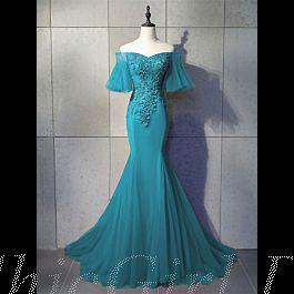Meerjungfrau Abendkleid Ballkleider Carmen Ausschnitt ...