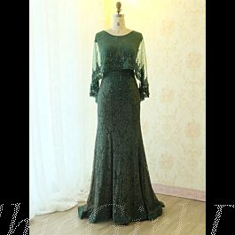 meerjungfrau abendkleid lang dunkelgrün spitze mit perlen schal schleppe