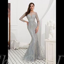 Meerjungfrau Ballkleid Abendkleid Langarm Silber Tüll ...