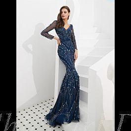 meerjungfrau ballkleid luxus abendkleid v ausschnitt langarm dunkelblau pailletten strass glitzer
