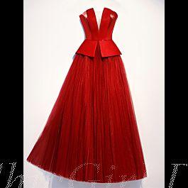 schlichtes a linie abendkleid schößchen lang rot satin tüll bandeau