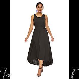 Sommer Abendkleid Wadenlang Kleid Vokuhila Schwarz Jersey