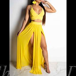 strandkleid zweiteiliges kleid lang gelb chiffon schlitz v