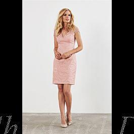 v ausschnitt brautjungfernkleider partykleider etuikleid mit Ärmel kurz spitze pastell rosa