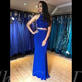 Zweiteiliges Abendkleid Lang Blau Jersey Mit Spitze Strass ...