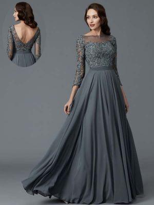 Abendkleider Gunstig Online Kaufen Farbe Grau Armellange Lange Armel
